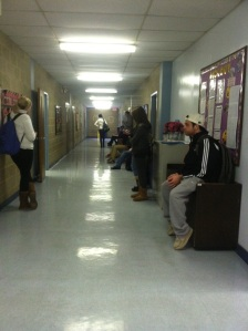 Camden County College students Marco Gollotto, Emily Lyons, Jenna Thompson, Kim McCaffrey, Dustin MacKenzie and Lauren Procajlo wait for their business class to resume in Taft Hall, the future student services center.  By Morgan Grossmann, CCC Journalism Program