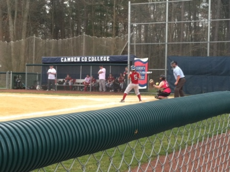 Twin duo, Kaitlyn Hellyer, pitcher, strikes out Montgomery County College's Sammi Kidd, as Taylor Hellyer, catcher, receives the pitch.  By Morgan Grossmann, CCC Journalism Program