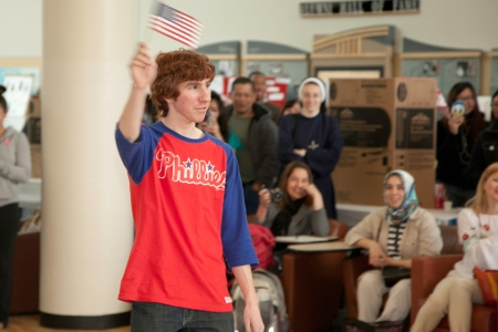 Zachary Brooks show his American sprit during the International day fashion show