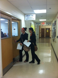 Students Rachel Varga (left) and Erica Durham (right) enter the academic advisement office to meet with advisors during Transfer Month at CCC. By Marie Vassey, CCC Journalism Program