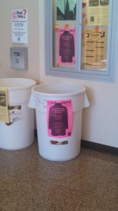 Coats can be dropped off in the large bucket on the CCC Blackwood campus. By Richard Camacho, CCC Journalism Program