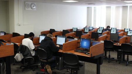 Students take exams in the CCC Testing Center, where new applicants take the ACCUPLACER to determine their level of algebra proficiency. Photo by Will Hoheisel, CCC Journalism Program