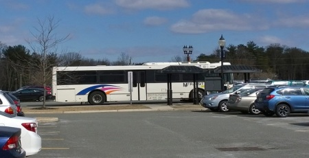A New Jersey Transit bus departs after picking up students at Camden County College. By Nick Lang, CCC Journalism Program