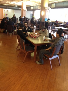 Students gather in the cafeteria at Camden County College. By Rachael Williamson, CCC Journalism Program