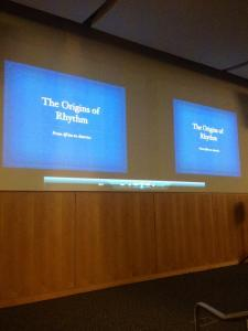 """The Origins of Rhythm"" lecture begins in Civic Hall. By Chelsea Coccia, CCC Journalism Program"