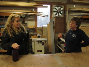 Marylee Morinellli (left) shares stories and small talk with long time business partner Cathy Ledden (Right)