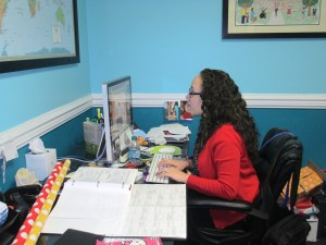 Sonia arrives at work around 8:30 in the morning and checks emails, voicemails, and updates the RMHSNJ's Twitter and Facebook pages from her office.