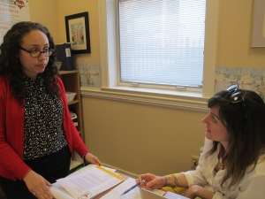 Sonia is pictured discussing a future project with Lauren White the RMHSNJ's Director of Development.