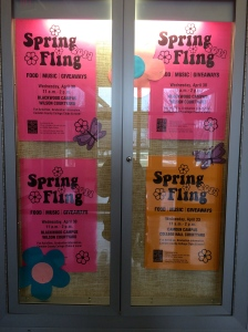 Flyers are posted around the campus to promote Spring Fling 2014. By Jacqueline Jackson, CCC Journalism Program