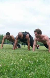 Greg Slaton (center) instructs a group in his Freebody Fitness program. By William Lusky, CCC Journalism Program