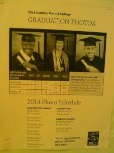 A paper shows the graduation photo schedule at Camden County College. By Noreen Peebles, CCC Journalism Program