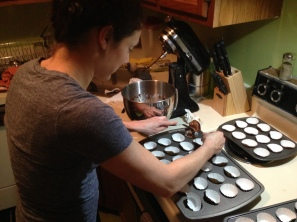 Jess Ercolino making cupcakes the night before the Cupcake Smash.