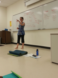 Kim Berni teaches yoga at Camden County College. By Cindy Son, CCC Journalism Program