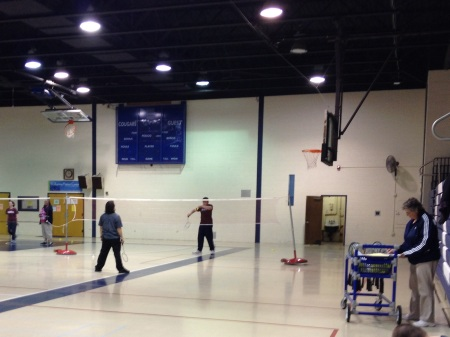 Joan Braid instructs her badminton class at Camden County College. By Rachael Williamson, CCC Journalism Program