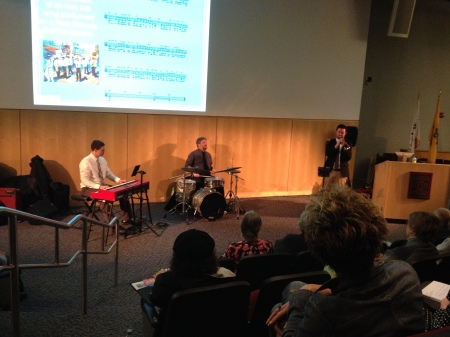 """Michael Billingsley, Robert Smith and Dave Mattock perform for the audience at the """"Swing Jazz' event. By Rachael Williamson, CCC Journalism Program"""