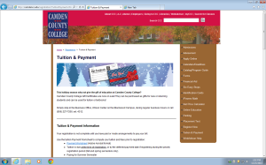 A page on the Camden County College website promotes the gift certificates.