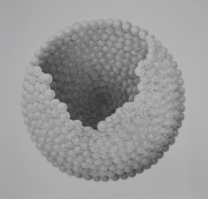 """Ovum,"" in graphite medium, was made by Fine Arts Professor Greg Brellochs."