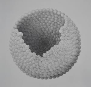 """""""Ovum,"""" in graphite medium, was made by Fine Arts Professor Greg Brellochs."""