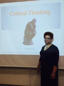 Ellen Davis conducts the presentation. By Jasmine Bradley, CCC Journalism Program.