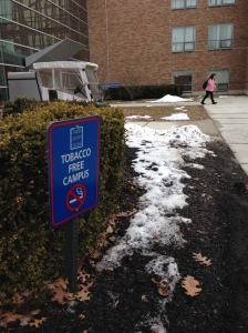 Tobacco-free campus signs are posted near all buildings on the campus. By Jessica Greco, CCC Journalism Program