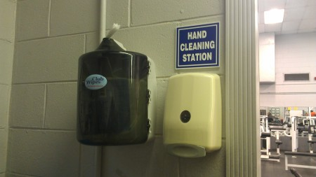 A hand-cleaning station stands in Camden County College's Wellspring Fitness Center. By Anthony Petitt, CCC Journalism Program