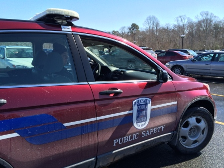 Officer Jim Mondelli patrols Lot 7. By Jackie Massaro, CCC Journalism Program