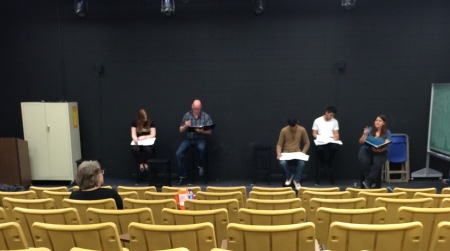 Allison Green and the Readers' Theatre troupe rehearse. By Jackie Massaro, CCC Journalism Program