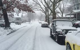 Snow covers a street on the route to Camden County College in Blackwood. By Shanneece Harrison, CCC Journalism Program