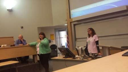 Christy Carlson (left) and Debbie Schmidt (right) give a lecture on autism. By Terrence Jenkins, CCC Journalism Program