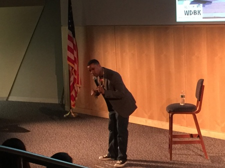 Comedian Chris Williams performs in Civic Hall. By Laura Wames, CCC Journalism Program