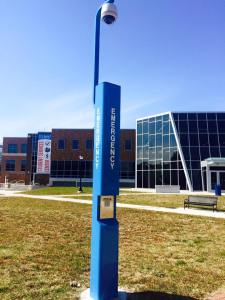 An emergency blue light stands on the Blackwood campus. By Michael Penn, CCC Journalism Program