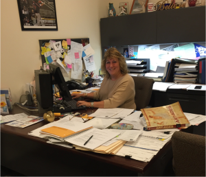 Assistant Dean for Student Development and Support Jackie Tenuto works hard in the Office of Student Life and Activities. Tenuto is trying to get Student Life and Activities organized for the 2015-2016 year.