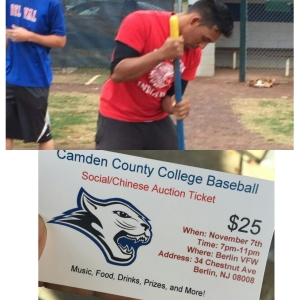 Top: Angel Rodriguez and other members of the CCC baseball team make preparations for the upcoming season. Bottom: A ticket for the team's upcoming fundraiser banquet is shown. By Reet Taylor, CCC Journalism Program