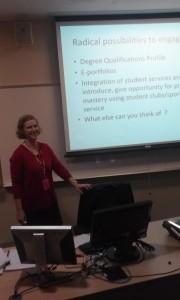 Gail Stewart gives a presentation. By Michael Kraus, CCC Journalism Program
