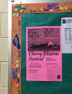 A flyer for the Cherry Blossom Festival bus trip hangs outside the Student Life and Activities office. By Christopher Smith, CCC Journalism Program