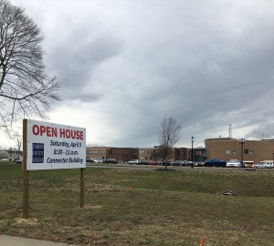 A sign announces the open house. By Imani Bass, CCC Journalism Program