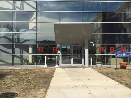 Rutgers decals are on the windows of the Connector Building at Camden County College. By Dana Berger, CCC Journalism Program