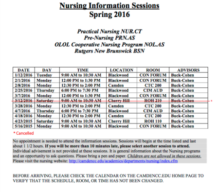 A schedule on the Camden County College website lists nursing information sessions. By Taylor Catling, CCC Journalism Program