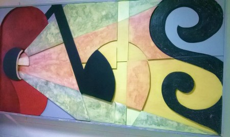An art piece of music symbols is at the Dennis G. Flyer Memorial Theater in Lincoln Hall. By Autumn R. Caraballo, CCC Journalism Program
