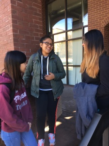 Dan Nguyen (from left), Brenda Vidals and Channy Danh discuss politics. By Erin Banes, CCC Journalism Program