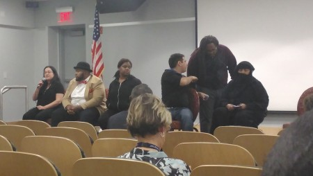 Sadie Clayton, Camden County Youth Development director of admissions, Kimel Hadden, Shamiera Andersen, Daniel Meirom, Flip Fripps and Rasheeda Moton Oton participate in the panel discussion. By Rachael Crismond, CCC Journalism Program
